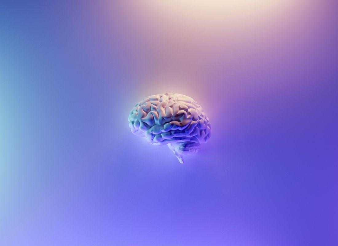 Brain on purple background