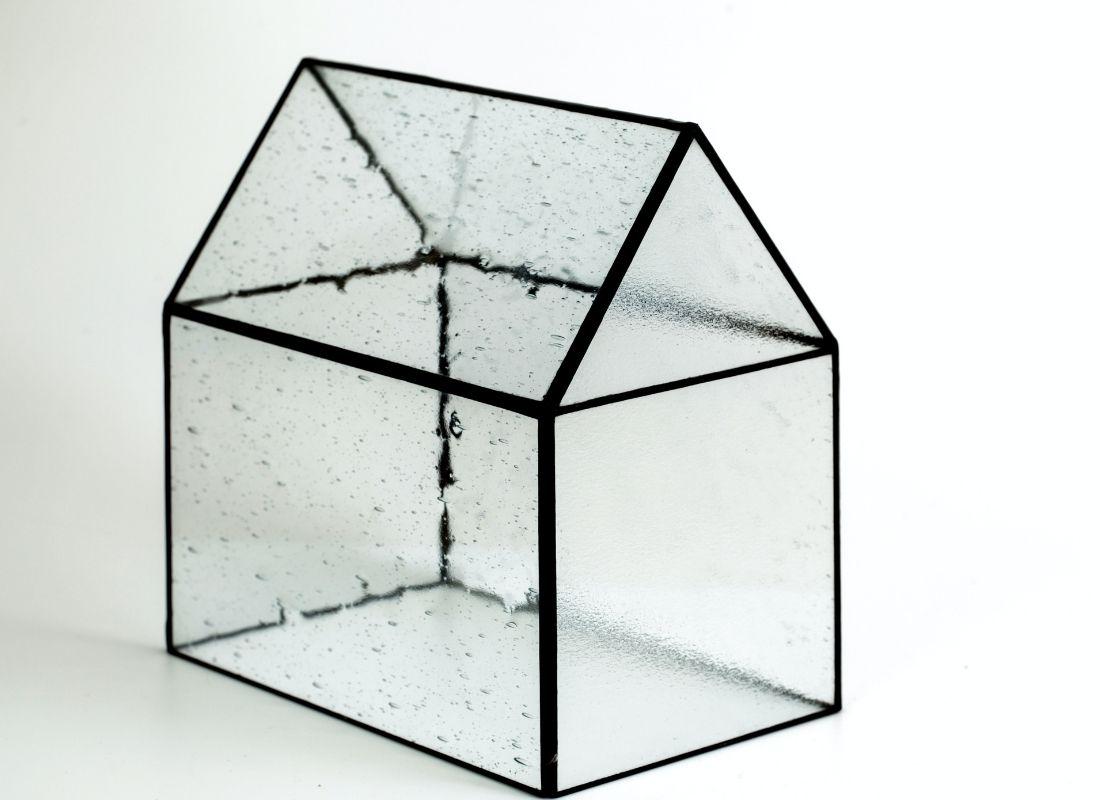 Transparent tiny glass building