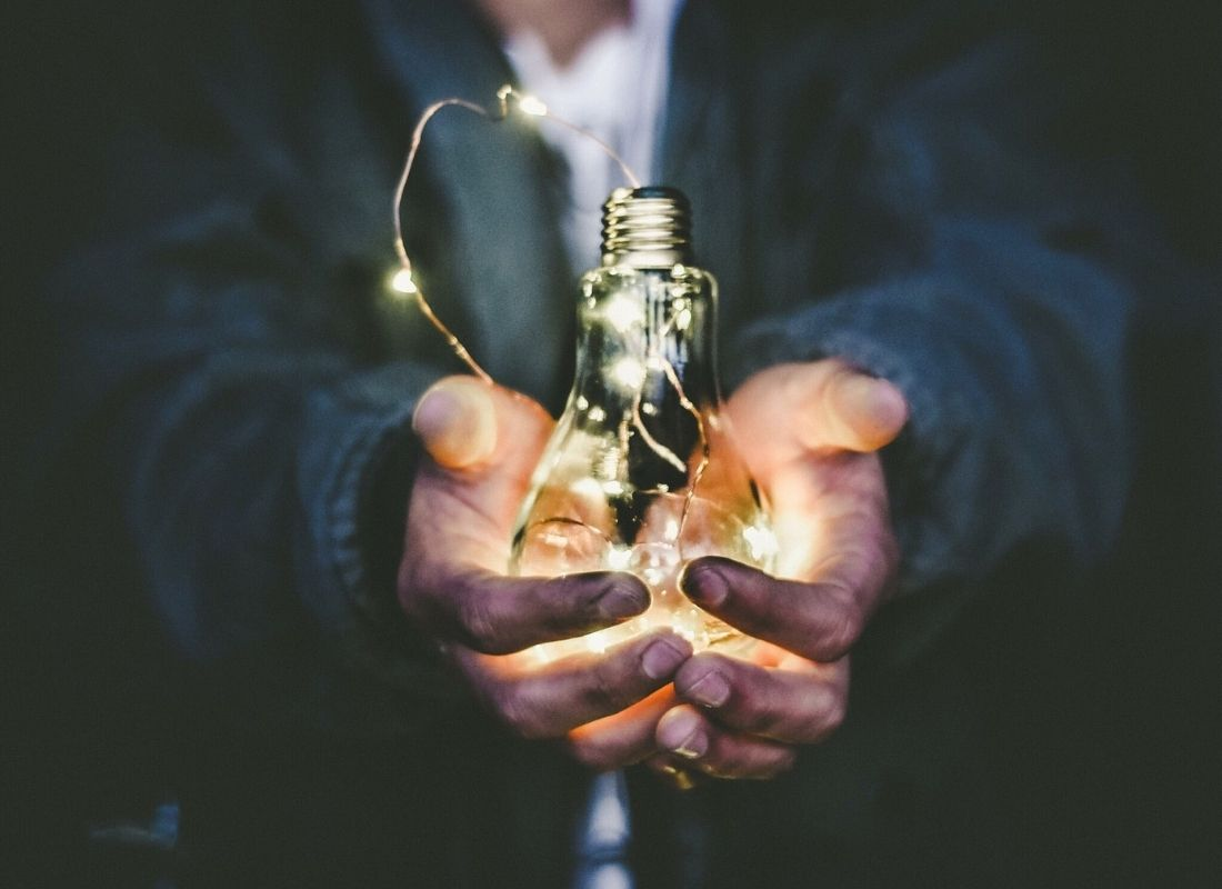 String of lights in a lightbulb